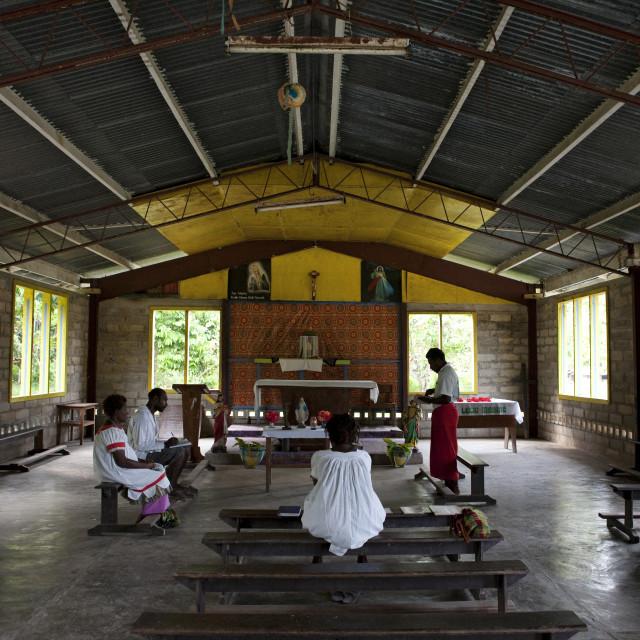 """People Inside A Church, New Ireland Island, Langania Village, Papua New Guinea"" stock image"