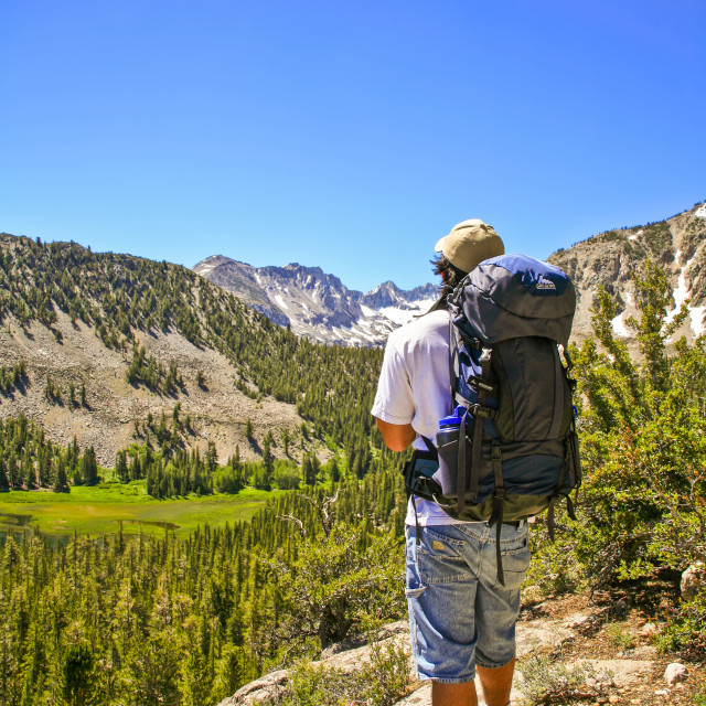 """Backpacker on High Trail in the Sierra Nevada"" stock image"