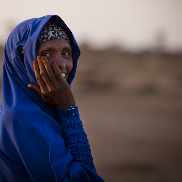 """""""Portrait Of A Mature Woman Wearing A Blue Hijab And Laughing, Baligubadle,..."""" stock image"""