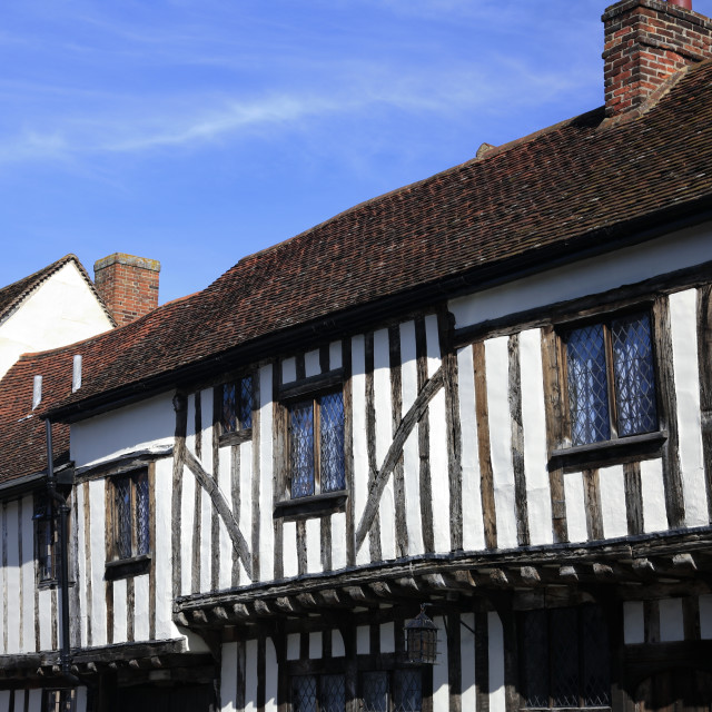 """Colorful half timber framed thatched cottages, Lavenham village, Suffolk..."" stock image"