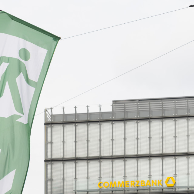 """Symbol Notausgang Commerzbank"" stock image"