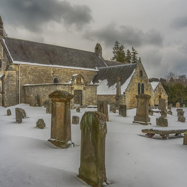 """Abercorn Church in the Snow"" stock image"