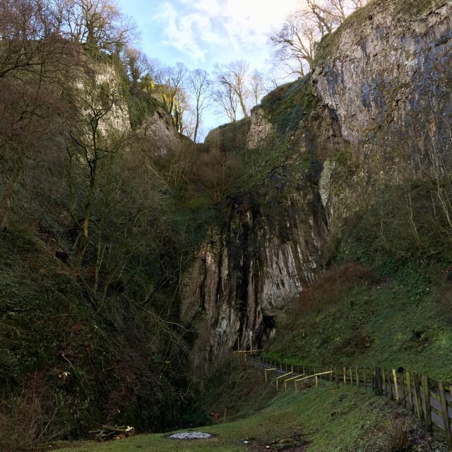 """Peak Cavern (or Devil's Arse) in Castleton, Peak District"" stock image"