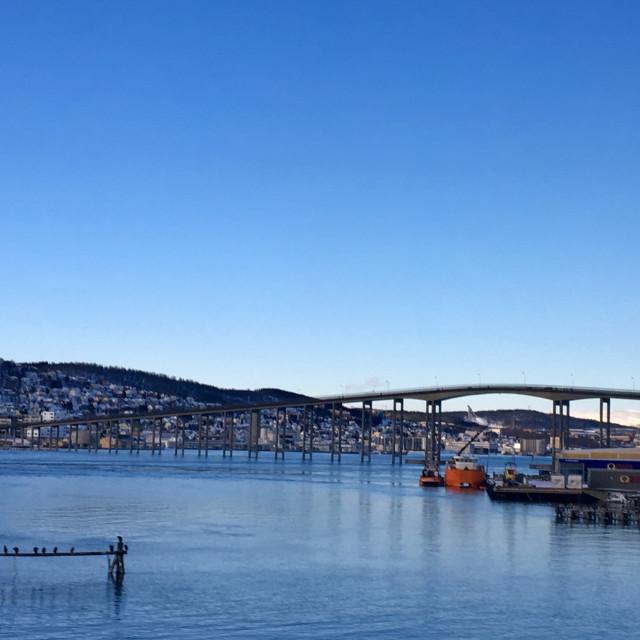 """Road bridge in Tromso, Norway"" stock image"