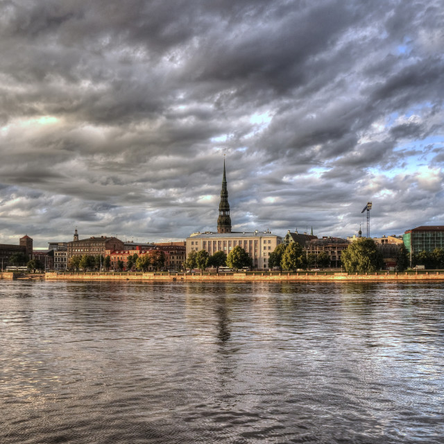 """View of Riga city from the riverside"" stock image"