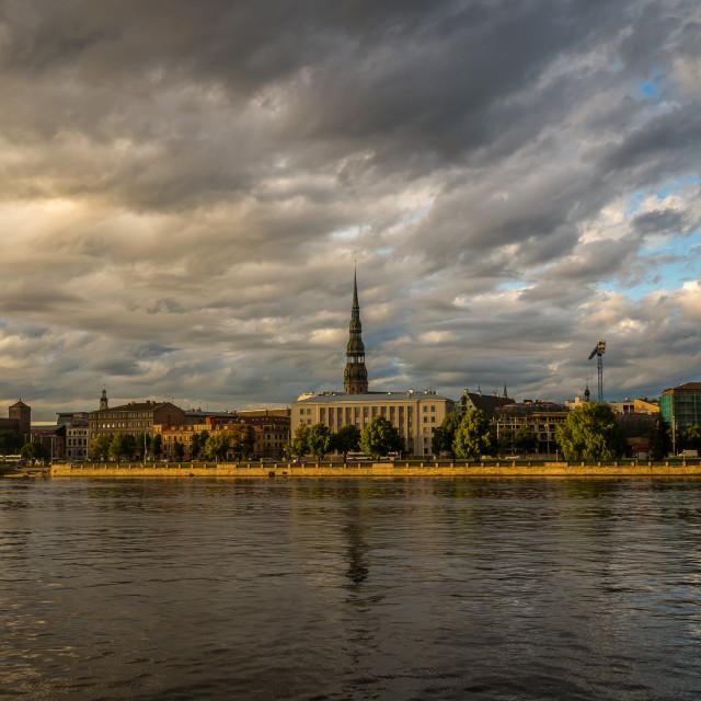 """Panorama of Old Riga city"" stock image"