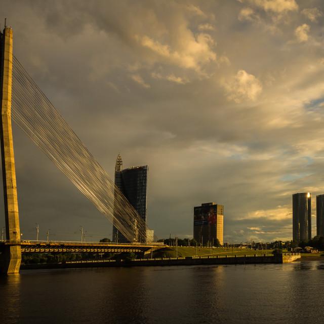 """""""Vanšu Bridge in Riga Latvia"""" stock image"""