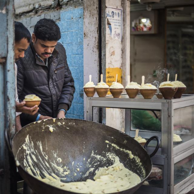 """Malaiyo, a traditional sweet food of Varanasi, Uttar Pradesh, India"" stock image"