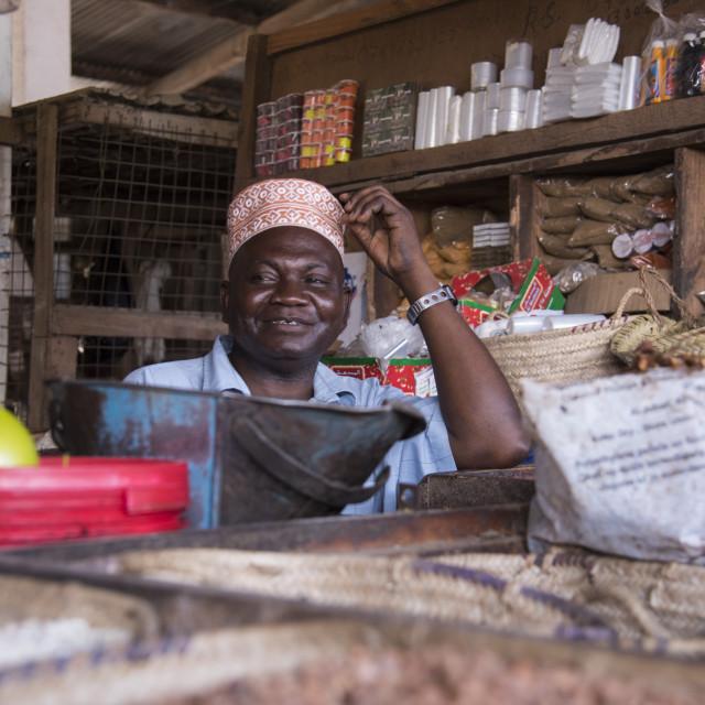 """A man wearing a traditional kofia in the market in Pangani, Tanzania, East..."" stock image"