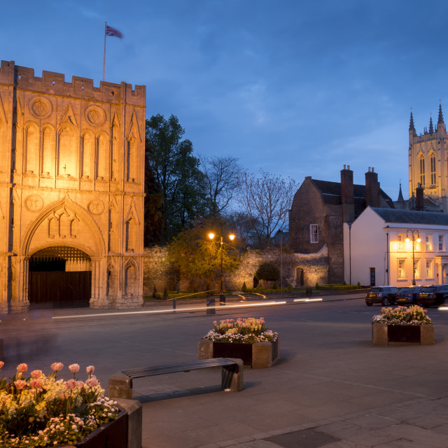 """""""Norman gatehouse tower and Abbey at twilight"""" stock image"""