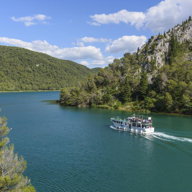"""Boat trip between Skradin and Skradinski Buk, Krka National Park, Croatia"" stock image"