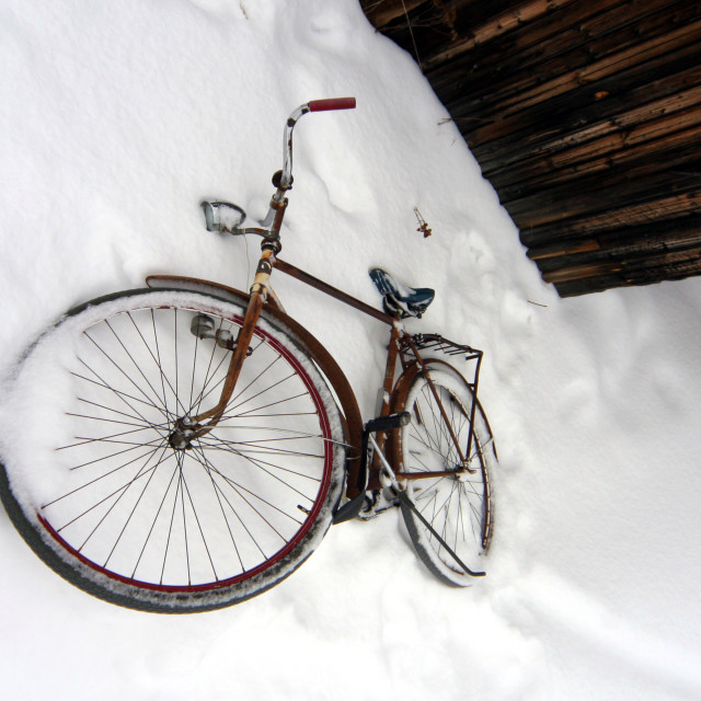 """""""Bicycle in snow, Nellim, Finland"""" stock image"""