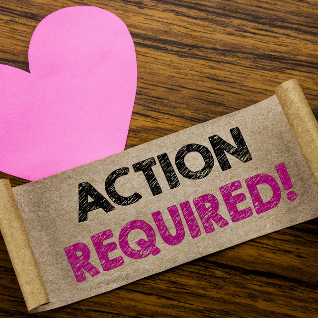 """""""Writing text showing Action Required. Business concept for Immediate Urgent..."""" stock image"""
