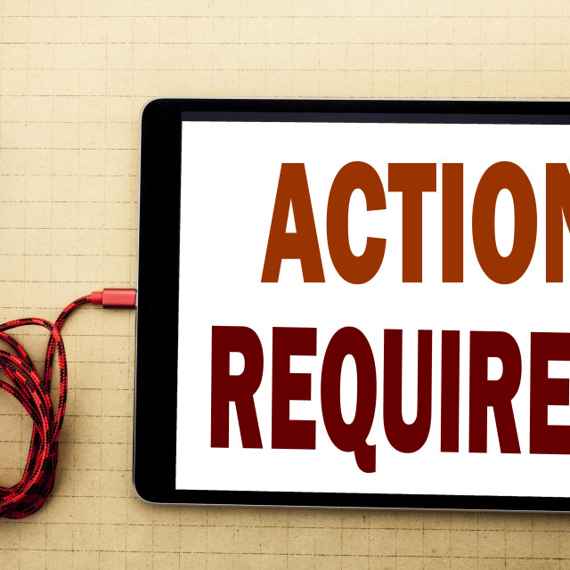 """""""Hand writing text caption inspiration showing Action Required. Business..."""" stock image"""