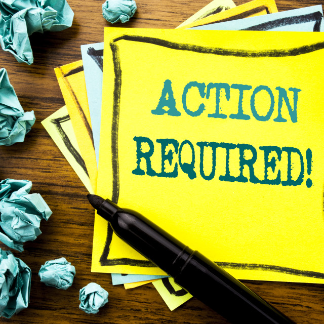 """""""Handwritten text showing Action Required. Business concept for Immediate..."""" stock image"""
