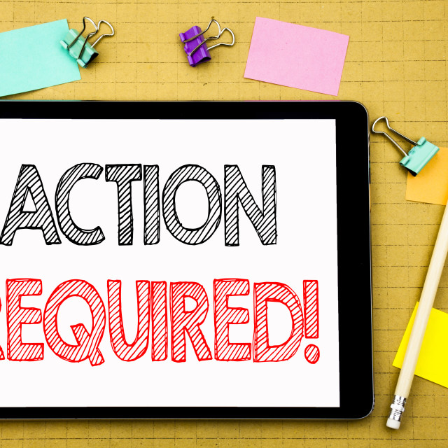 """""""Word, writing Action Required. Business concept for Immediate Urgent Written..."""" stock image"""