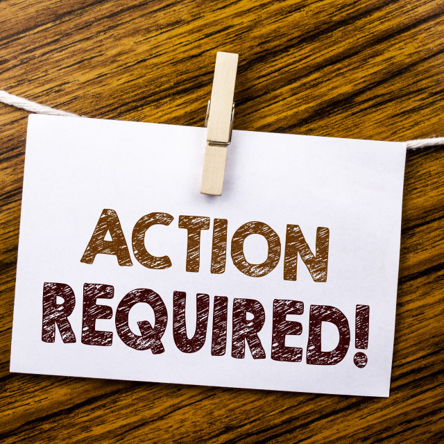 """""""Handwriting Announcement text showing Action Required. Business concept for..."""" stock image"""