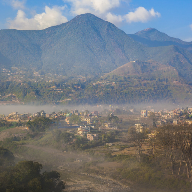 """""""View of Champa Devi, a sacred mountain from Sneha's Care. Bhaisipati...."""" stock image"""
