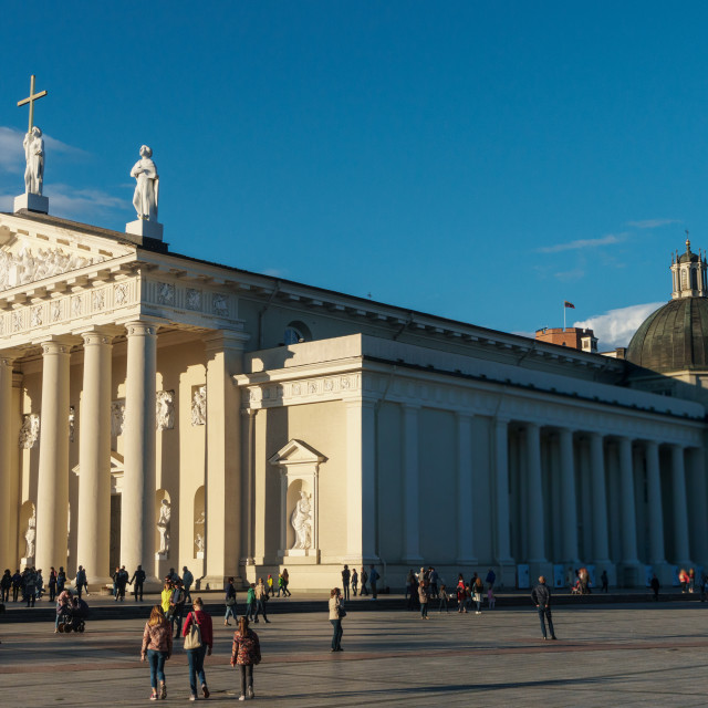 """""""Facade and side of French Classicist style, Catholic Cathedral, visual..."""" stock image"""