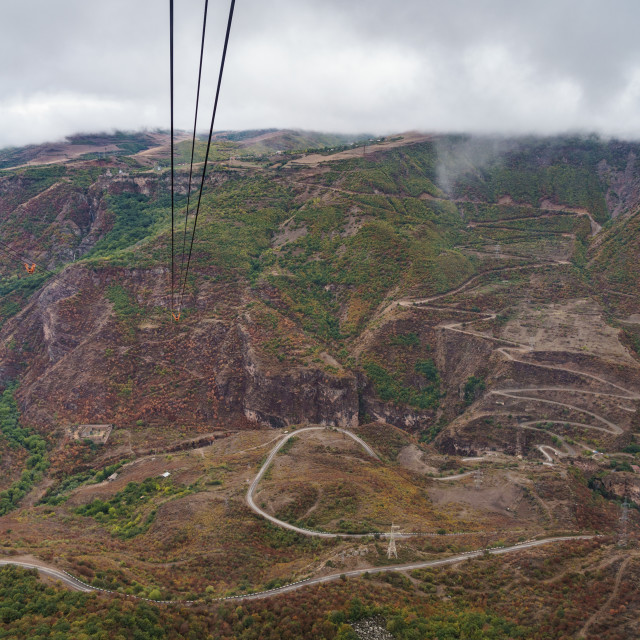 """Aerial view from one of the world's longest (6 km) aerial tramways, Tatev,..."" stock image"