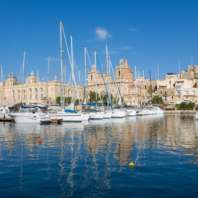 """""""Boats moored in Grand Harbour marina at Birgu. Valletta is European Capital..."""" stock image"""