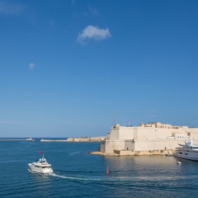 """""""Fort Sant' Angelu, Birgu and the Grand Harbour in Valletta, which is European..."""" stock image"""
