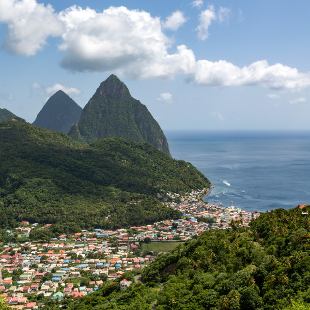"""The town of Soufriere with the Pitons beyond"" stock image"
