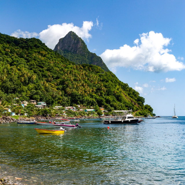 """Petit Piton from the beach at Soufriere"" stock image"