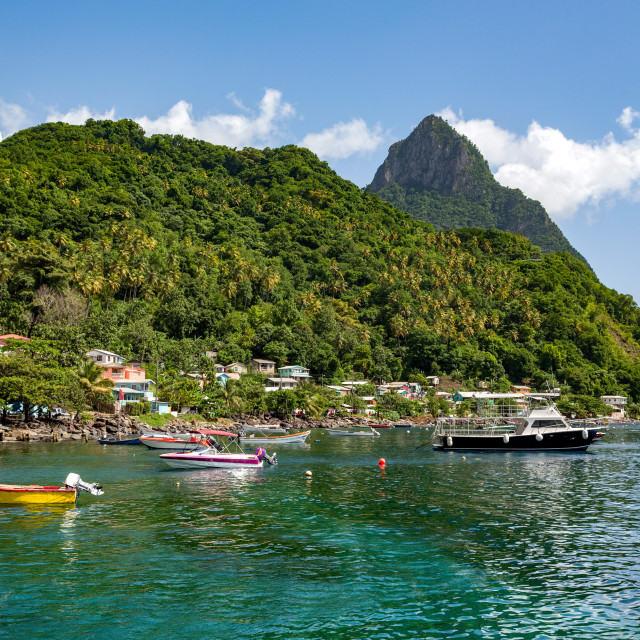 """Petit Piton from Soufriere"" stock image"