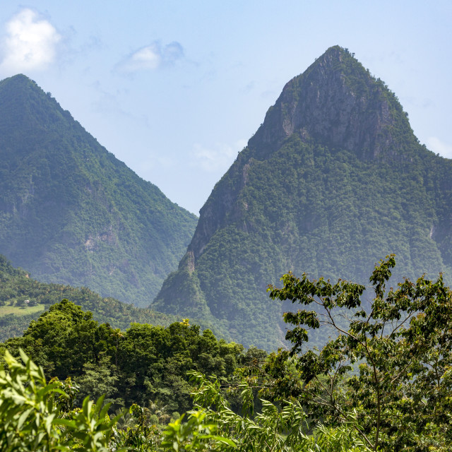 """The two Pitons near Soufriere"" stock image"