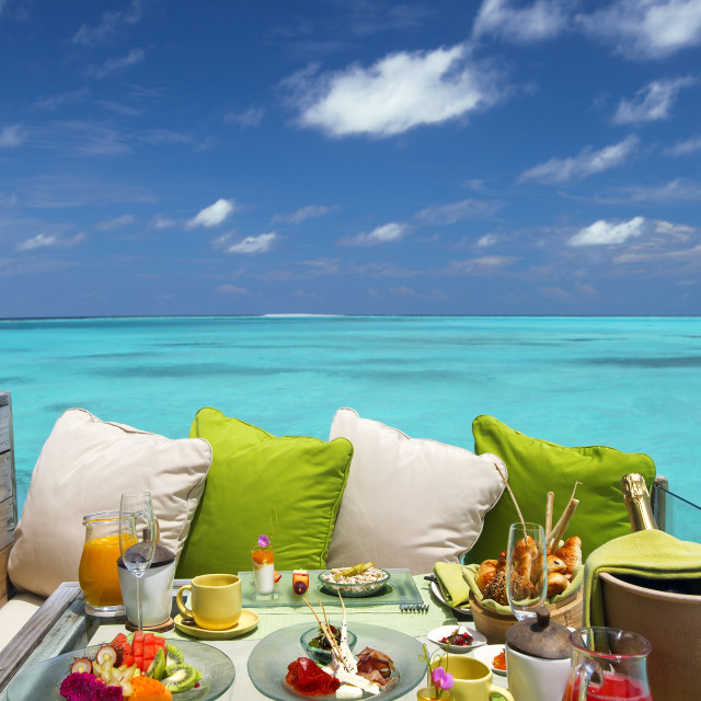 """Breakfast with a view, maldives"" stock image"