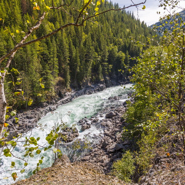 """View of white rapids on Clearwater River near Clearwater, British Columbia,..."" stock image"