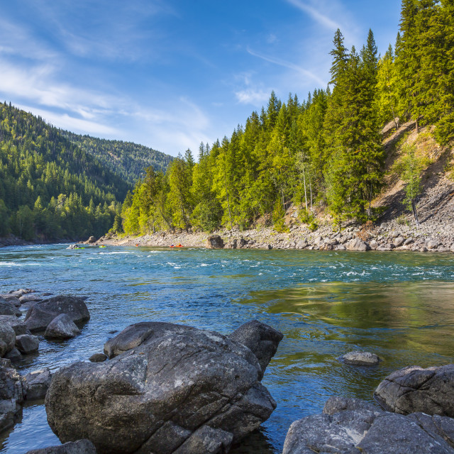 """View of Clearwater River and meadows near Clearwater, British Columbia,..."" stock image"