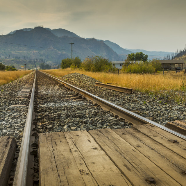 """View of Railway line near Kamloops, British Columbia, Canada, North America"" stock image"