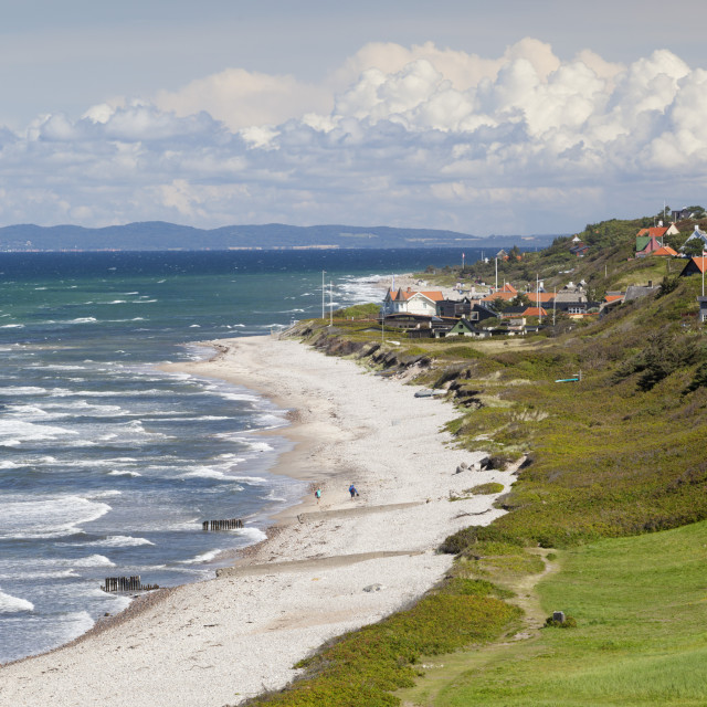 """View over Rageleje Strand beach with Swedish coastline in distance, Rageleje,..."" stock image"