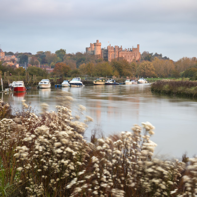 """Arundel Castle on the River Arun at sunrise in autumn, Arundel, West Sussex,..."" stock image"