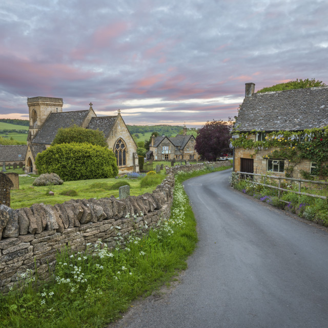 """St Barnabas church and Cotswold stone cottages at dawn, Snowshill, Cotswolds,..."" stock image"