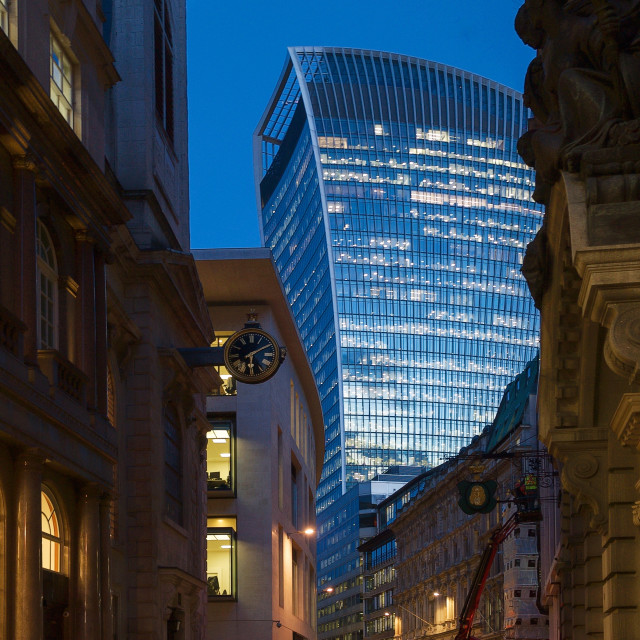 """""""The Walkie-Talkie / 20 Fenchurch Street from Lombard Street"""" stock image"""