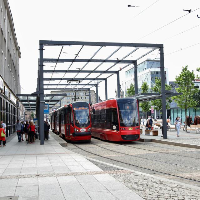 """Katowice: Rynek tram stop"" stock image"