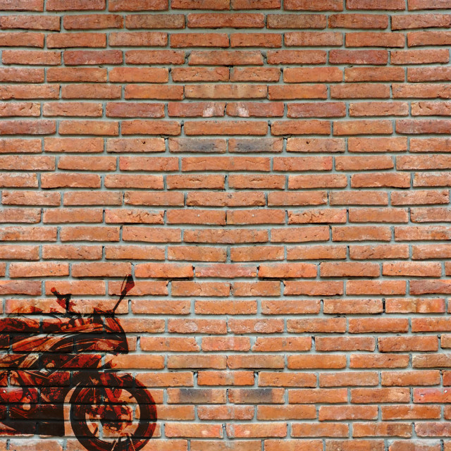 """""""Wall graffiti featuring a motorcycle"""" stock image"""