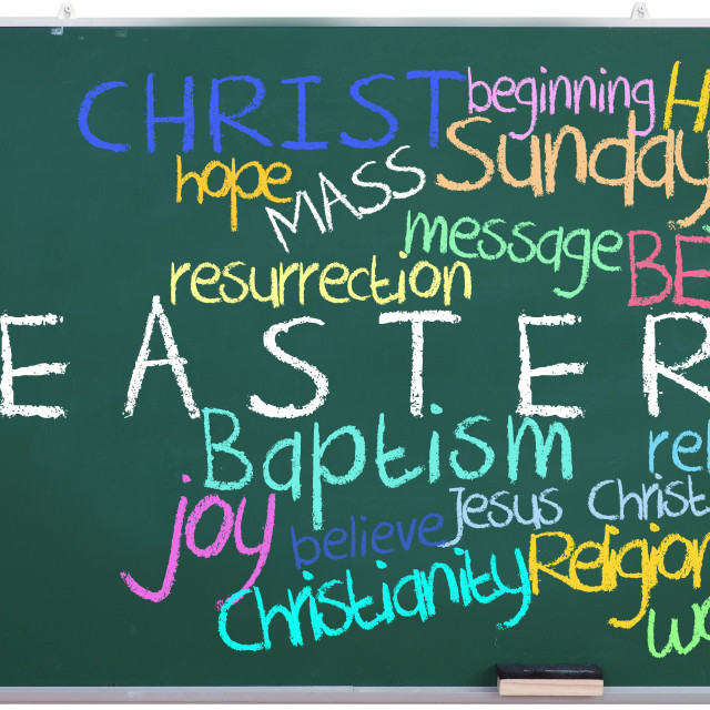 """""""Easter tags on green chalkboard"""" stock image"""