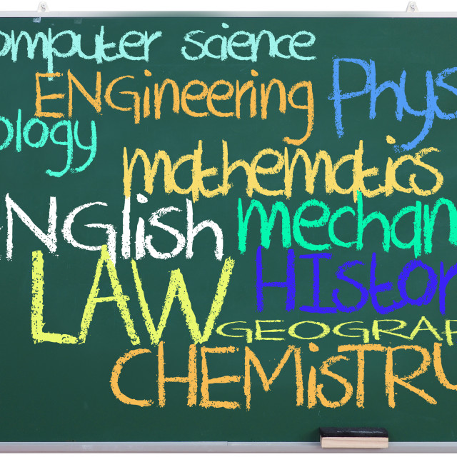 """""""Available subjects on green chalkboard"""" stock image"""