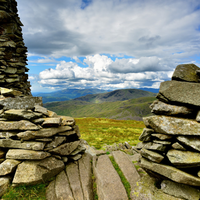 """Stone cairn on Thornthwaite Crag"" stock image"
