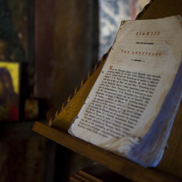 """""""Bible in the Church of Aghios Stefanos, Drakona"""" stock image"""