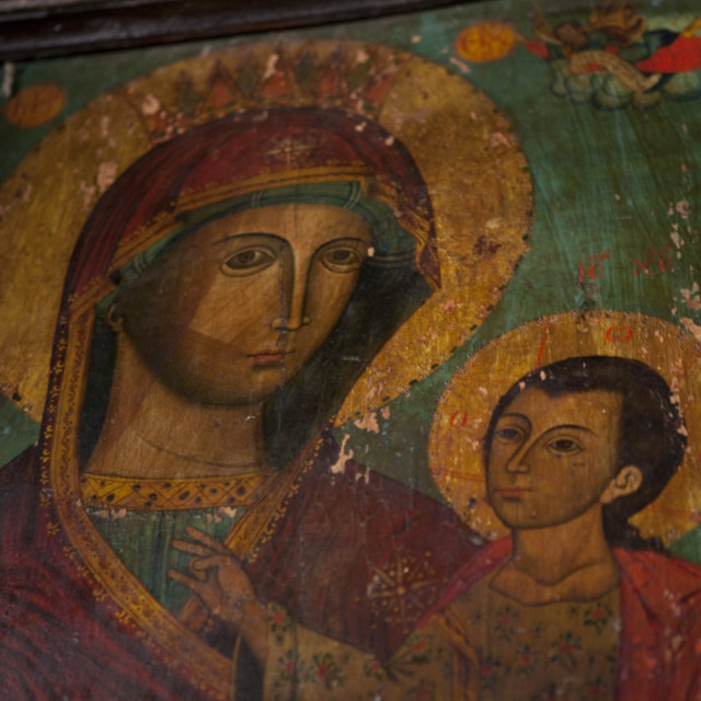 """""""Frescoe of the Virgin and Child"""" stock image"""
