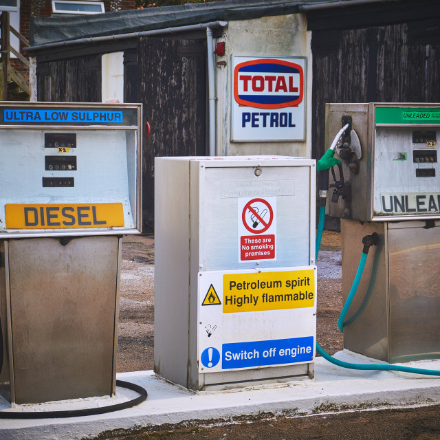"""""""Old fashion fuel pumps"""" stock image"""