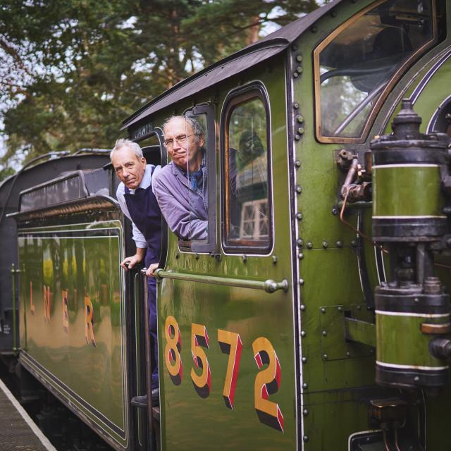 """Steam Train Drivers"" stock image"