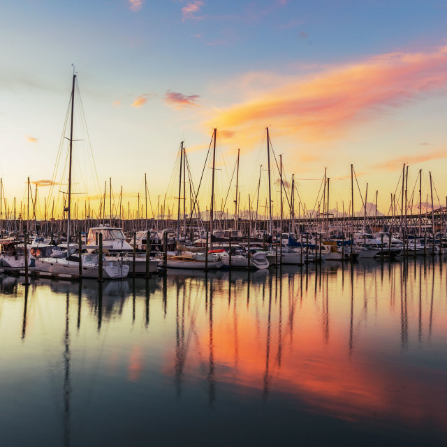 """WestHaven Marina Sunset"" stock image"