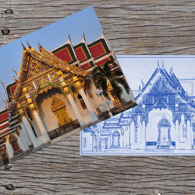 """""""Temple and blueprint on wooden plank"""" stock image"""