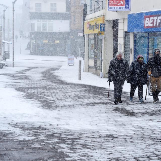 """UK Weather:Snow storm in Mansfield,UK."" stock image"